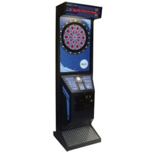 Free standing coin operated dart board